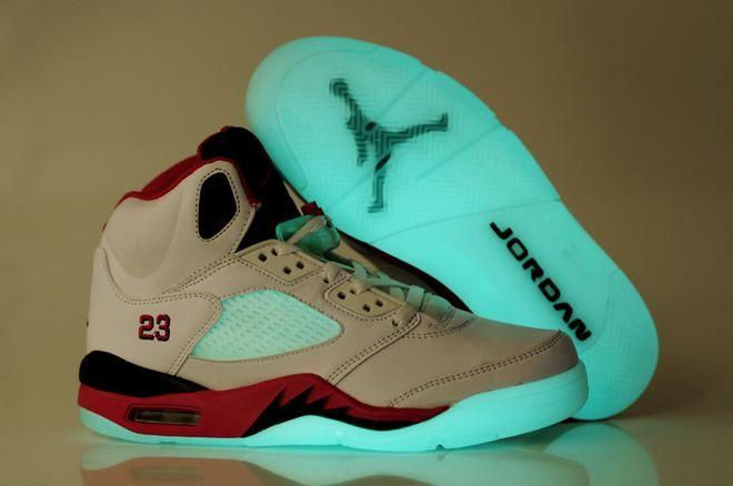 White/Red-Michael Jordan Shoes 5 -Men's-Basketball-Shoes-#30202-660