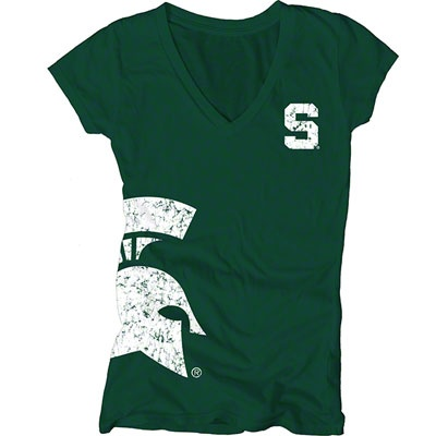 Michigan State Spartans Women's Dark Green Cossett Mascot Deep V-Neck Tee #spartans