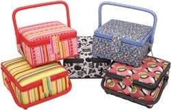 """Prym USA Square Sewing Basket 8 1/4""""X8 1/4""""X4 1/2"""" Assorted Fabrics Z10214"""