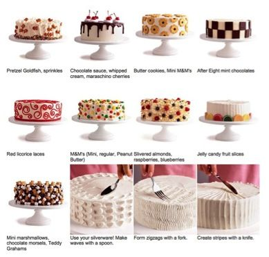 Cake Decorating Made Simple - the variety of ways using common & not so common food items. #decorating #cakes #baking #bakeking