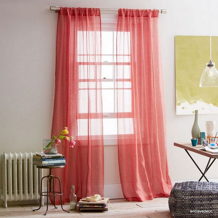 Best Home Office Ideas Images On Pinterest Apt Ideas Coral - Coral colored curtain panels