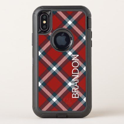 Custom Red Dark Blue White Plaid Tartan Pattern OtterBox Defender iPhone X Case - modern style idea design custom idea