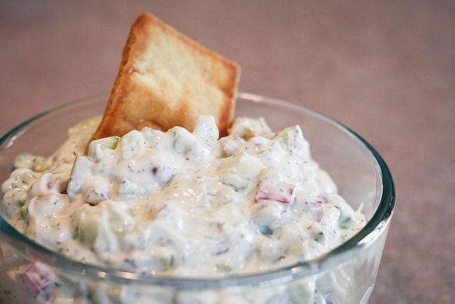 Greek yogurt dip. Use 8 oz fat free Greek yogurt. Add 4 oz each:  diced tomato, cumber. Add minced garlic and dill, to taste. Add a pinch of Hidden Valley Ranch powder if desired. #MetabolicResearchCenter