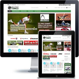 Go Pro Tennis Company website built with E-commerce using responsive web design.