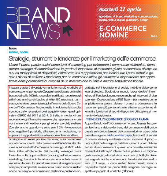 """""""Strategie, strumenti e tendenze per il marketing dell'e-commerce"""" - Brand News, 21 aprile 2015"""