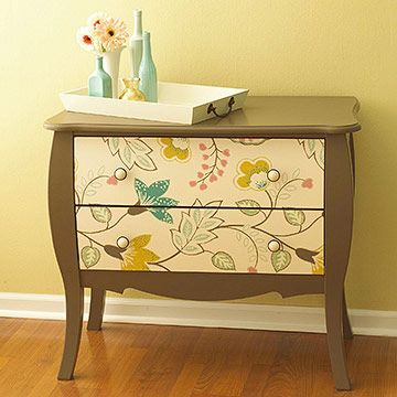 Makeover a dresser with wallpaper: Paintings Furniture, Dressers Drawers, Decor Dressers, Old Furniture, Old Dressers, Coordinating Colors, Wallpapers Dressers, Wallpapers Design, Wallpapers Drawers