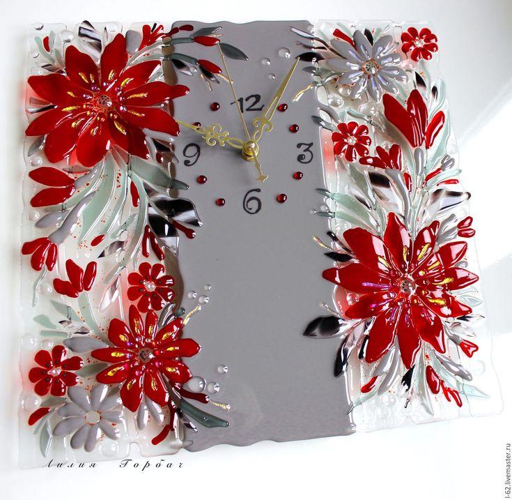 Купить часы из стекла, фьюзинг До свидания, лето!!! - серый, красный, бордо, стекло, Фьюзинг