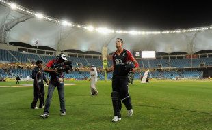 Kevin Pietersen walks off having led England to a series-clinching victory, Pakistan v England, 3rd ODI, Dubai, February, 18, 2012