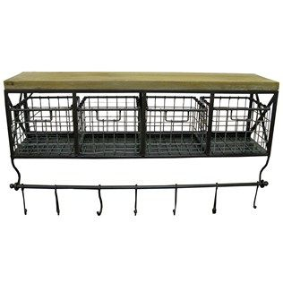 Just ordered this from Hobby Lobby, it is the one in all the cute coffee bar pins on pinterest. It took some research but I found it! Make sure you google hobby lobby coupons I saved 40% with a code I found online! Metal & Wood Shelf with Baskets & 7-Hooks   Shop Hobby Lobby