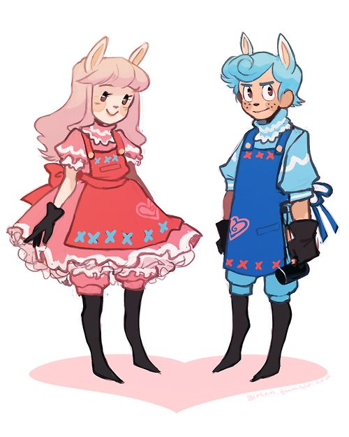 my sister asked me to make gijinkas of reese and cyrus so she and her boyfriend could cosplay them. and well i did it; she asked for a lot of ruffles
