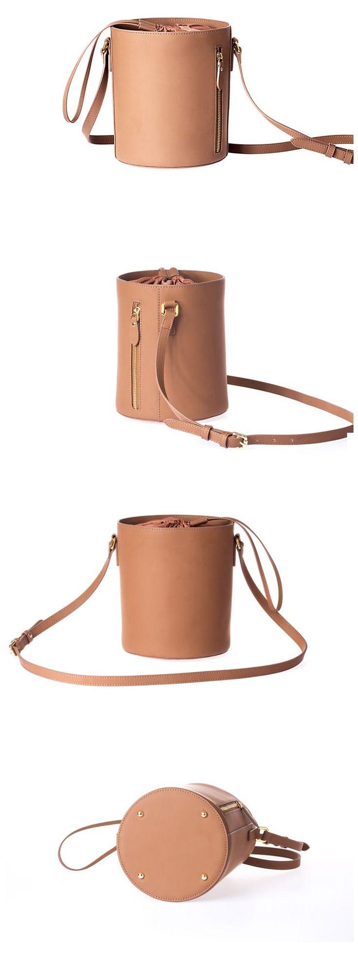 Handmade Genuine Leather Women Bucket bag Shoulder bag •Adjustable shoulder strap. •Open top with drawstring closure. •Brass hardware •Length: 20cm; Height: 20cm; Width: 17cm; •Color:Green/ Brown
