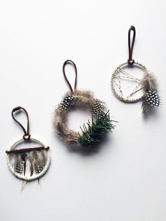 Bohemian Christmas Ornament Set Rustic Gift by BastandBruin                                                                                                                                                      More