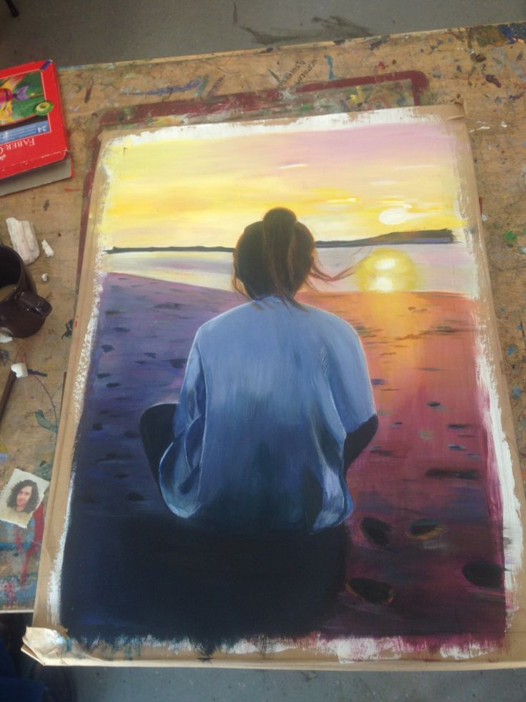 Picture I painted of a photo I took of Alice on malahide beach