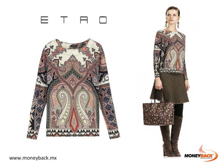Inspirado en la tradición oriental, una mezcla de diseños sofisticados decora la base de esta increíble blusa de la marca Etro. Úsala con zapatos de tacón alto y un par de pantalones ajustados para completar el look. Etro México es una empresa afiliada a Moneyback! #Etro
