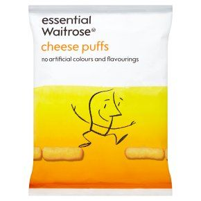 Does contain cheese/milk/lactose - essential Waitrose cheese puffs. Ingredietns: maize, high oleic sunflower oil, milk whey powder, lactose (milk), cheese powder (milk), salt, yeast extract, flavouring, anti-caking agents silicon dioxide and tricalcium phosphate, colour: paprika extract, emulsifier: mono- and diglycerides of fatty acids