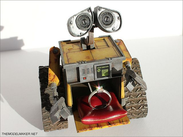 Wall-E engagement ring box by The Model Maker.