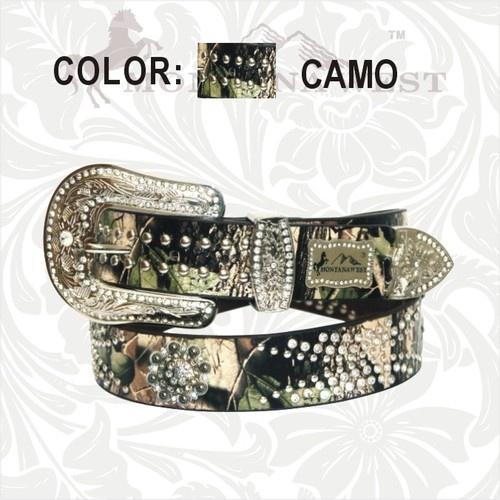 For Kaicey- Montana West Brown Camo Western Belt Rhinestone Studded Flower Conchos | eBay $32