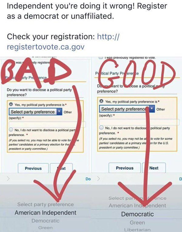 """California! Must register as a Democrat or """"No Party Preference"""" by May 23 to vote for Bernie in the primary on 6/7."""