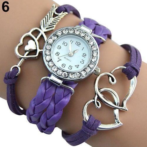 Infinity Love Heart Braided Faux Leather Bracelet Quartz Wrist Watch