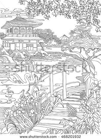 Coloring pages . Japanese house on the river bank . Japanese landscape .