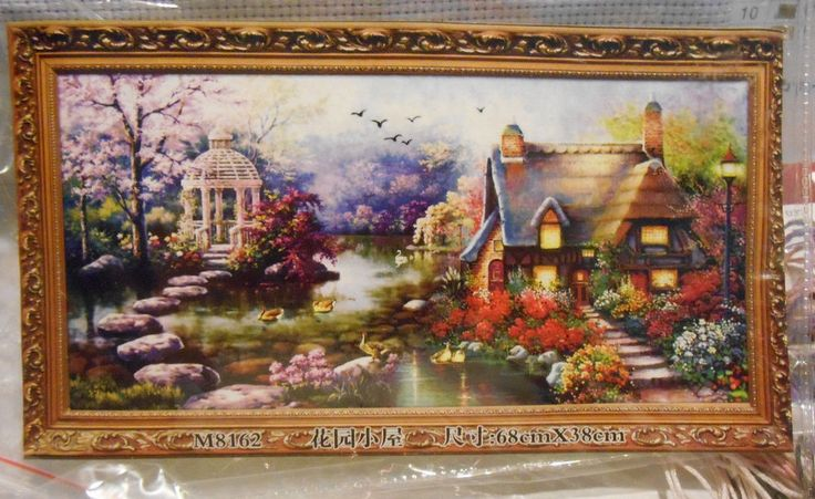 Mona Lisa English Cottage & Gazebo Counted Cross Stitch Kit #M8162 NEW #MonaLisa #Picture