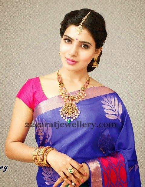 Jewellery Designs: Telugu actress Samantha wears a beautiful Lakshmi Necklace and completes her look with jhumiks/jhumkas and maang tikka.