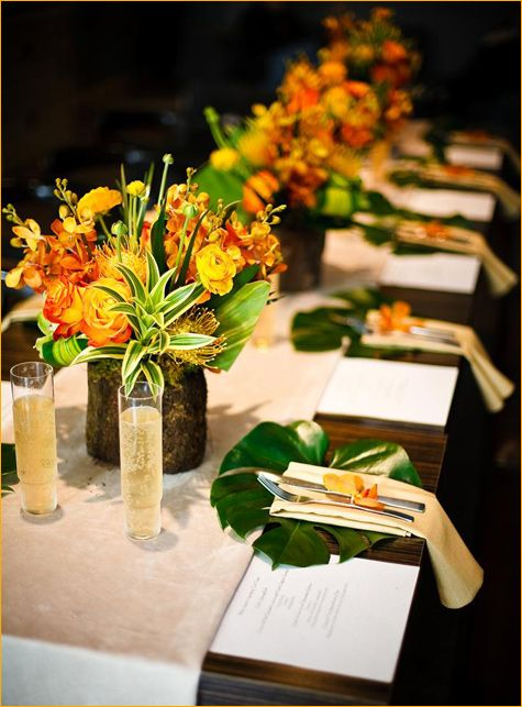 Decor - Place Settings: Monstera leaves or Banana leaves.  Floral colors to be pink, orange.  no yellow