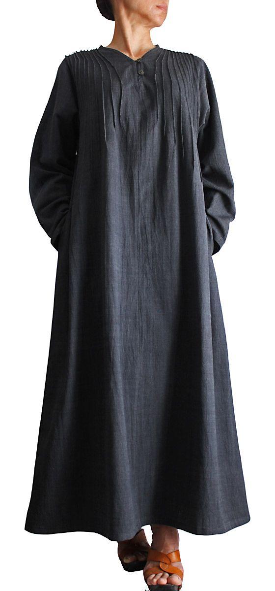 ジョムトン手織り綿の畝使いシンプルロングドレス