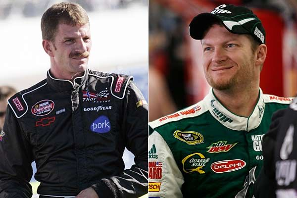 Kerry Earnhardt and Dale Earnhardt Jr. Kerry (left) and Dale Jr. (right), sons of the late Dale Earnhardt, have different mothers. Kerry's mom is Dale Earnhardt's first wife, Latane. He is Earnhardt's oldest son. Dale Jr.'s mom is his father's second wife, Brenda. Kerry has run fewer than 10 Cup races with no wins. Dale Jr., driver of the No. 88 Hendrick Motorsports Chevy, has 18 Cup wins and a pair of Nationwide Series titles.
