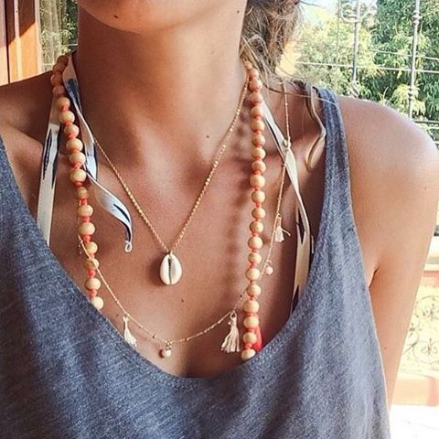 Completely in love with this photo from Luciana wearing our cowrie shell necklace. From Boutique Minimaliste