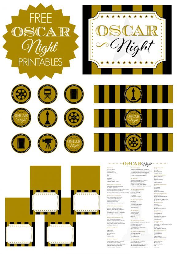 Free printables for your Oscar party: welcome sign, Oscar ballots, water bottle labels, cupcake toppers, and blank tented cards! See more party ideas at CatchMyParty.com