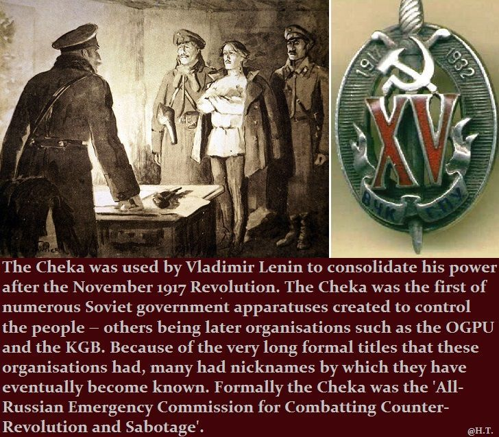 20 Dec. 1917 - Cheka formed - Soviet state security force and forerunner to the KGB, under Felix Dzerzhinsky after decree by Lenin.