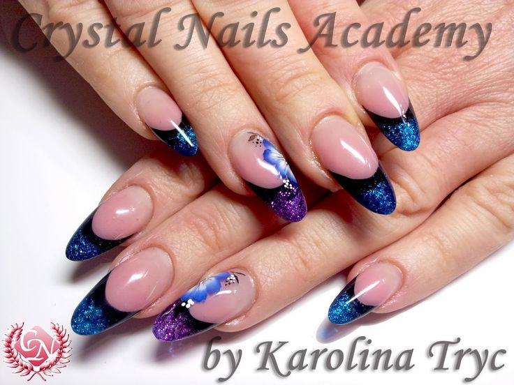 ***NAIL ART *** ACRYLIC *** UV GEL NAILS EXTENSION&OVERLAYS***CRYSTAL NAILS: Crystal Nails Academy by karolina Tryc Sculpted Uv gel extension with one stroke design.