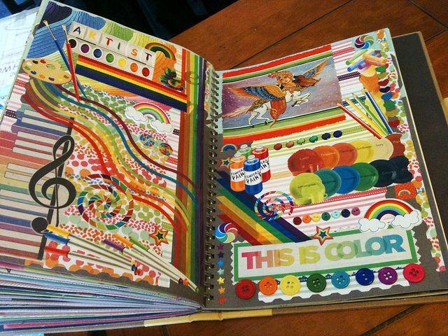 Beautiful rainbow Smashbook page :D