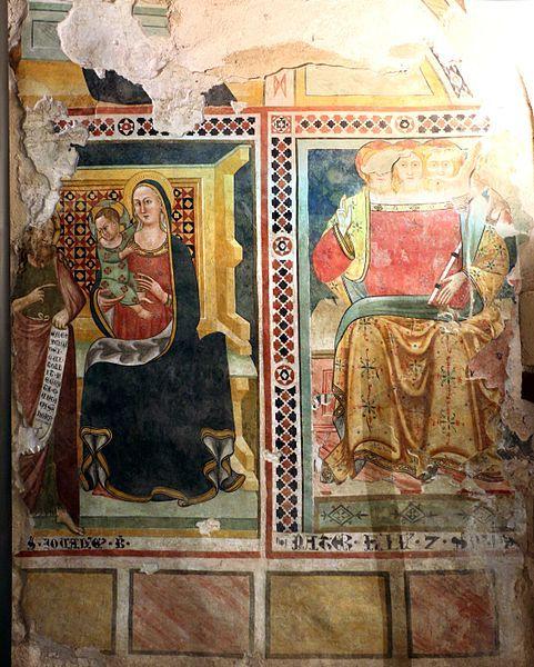 Artista umbro - Madonna in trono col bambino e Trinità - 1390 ca. - affresco - Museo civico di Gualdo Tadino (Umbria)