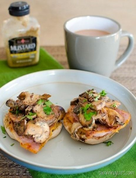 Slimming Eats Garlic Mushrooms with Bacon - Slimmng World (SP) and Weight Watchers friendly