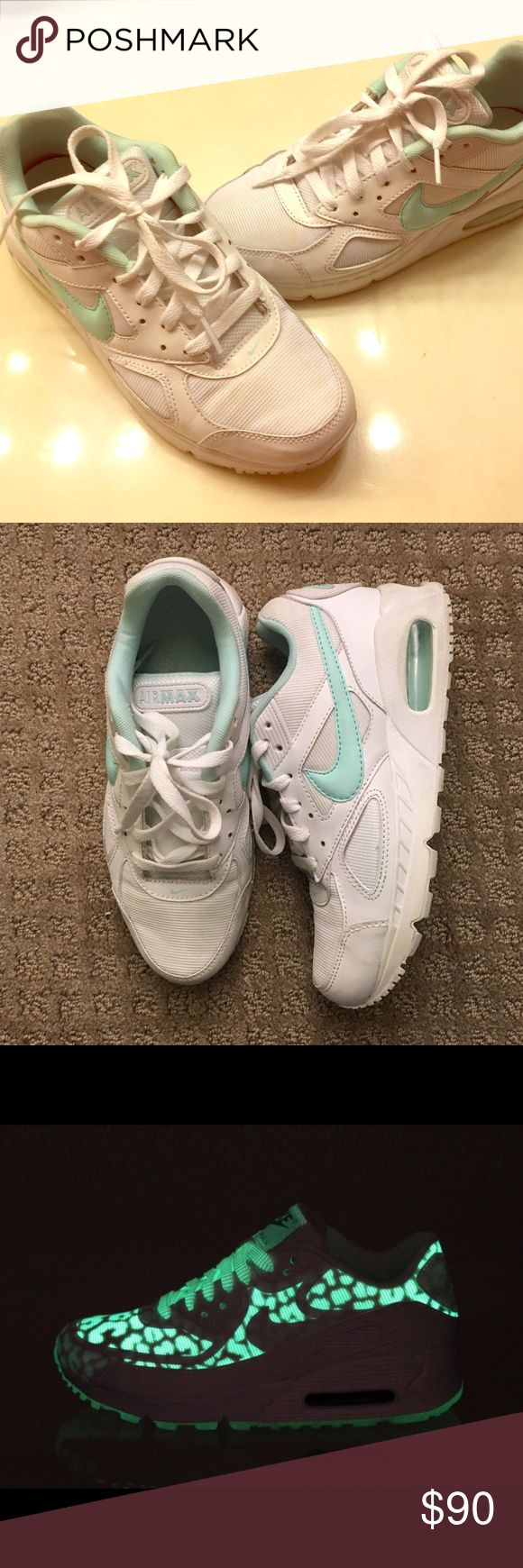 Women's Nike Air Max 🌟 GLOW in the DARK RARE Women's- Nike Air Max IVO 🌟 Glow in the DARK Leopard Print Trainers • White with Sweet Mint accents. So FRESH! 😍          *Gently Worn* Nike Shoes Sneakers
