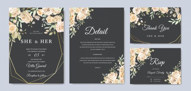 Beautiful Wedding Invitation Card Template Premium Vector