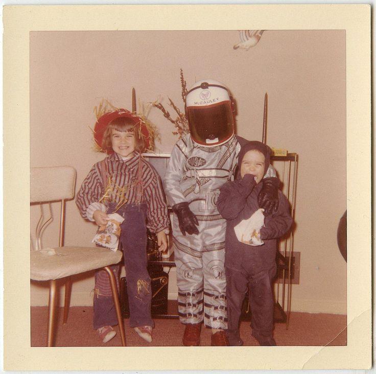 Children Scarecrow Astronaut Black Cat Halloween Costumes Vtg 60s Snapshot UC   eBay
