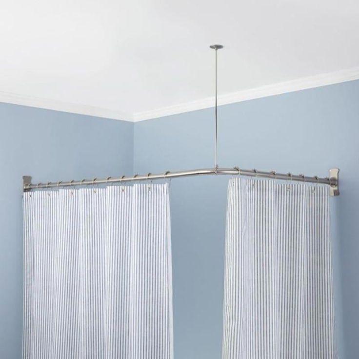Signature Hardware 913110 72x48 72 X 48 Corner Shower Curtain Rod Brushed Nick 2019 Round Shower Curtain Rod Shower Curtain Rods Corner Shower Curtain Rod