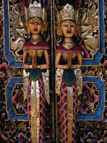 Doors with Wooden Carvings in the Tegallalang Area, Indonesia