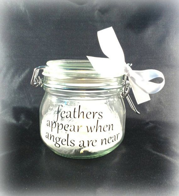 Memory jar light jar with white feathers by handmadebydebmac