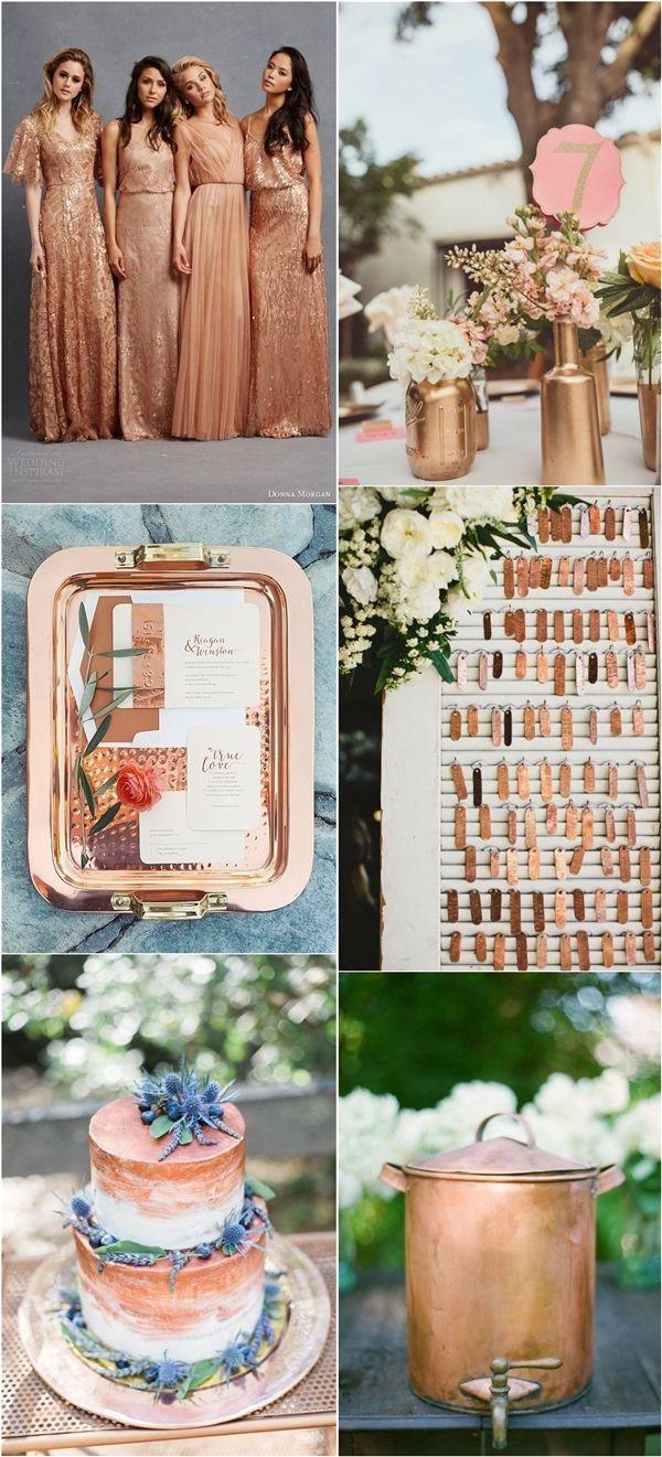 Vintage Copper Wedding Color Ideas / http://www.deerpearlflowers.com/bronze-copper-wedding-color-ideas/