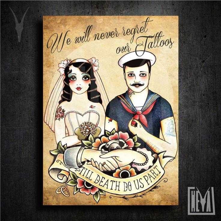 Poster da collezione 50x70 cm - Forever. We love our tattoo - Design originale Heya di HeyaStore su Etsy