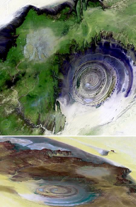 Richat Structure(Mauritania), as seen from space.