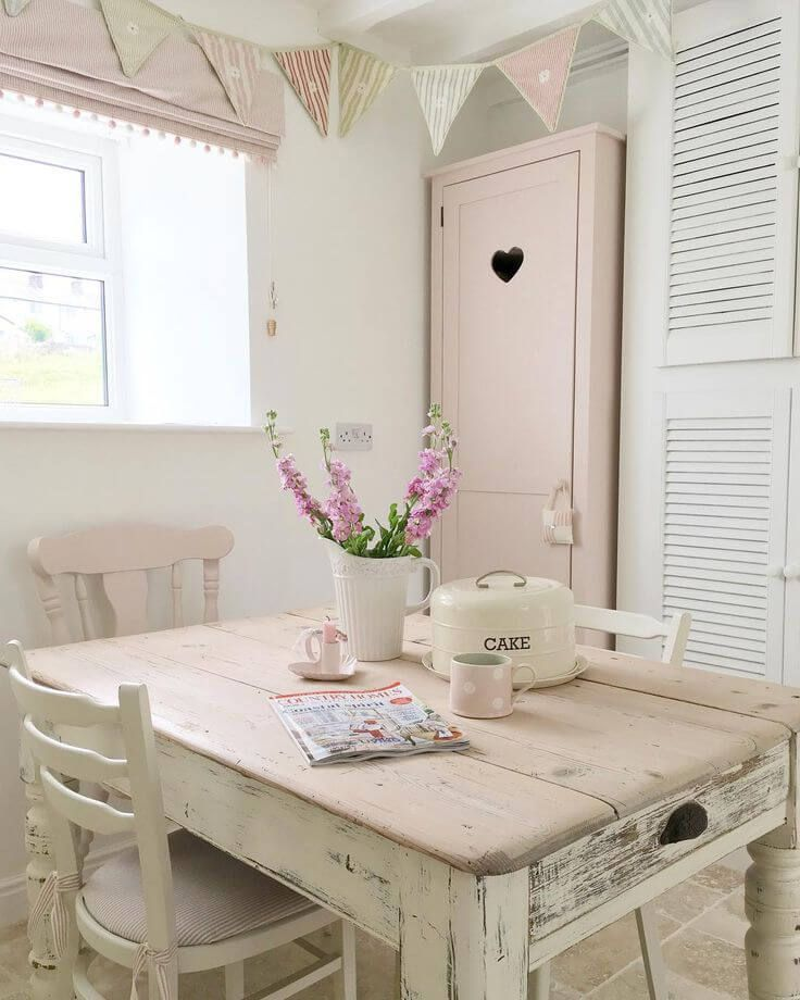 Shabby Chic Kitchen Table Centerpieces: Blush Tabletop And Accent Cabinet