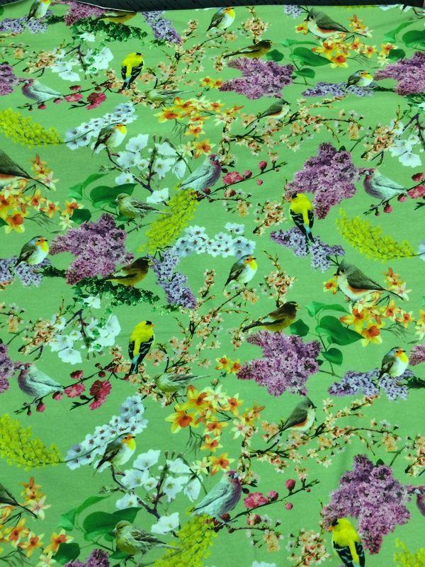 Vogel bloesem (groen) - Tricot/Jersey