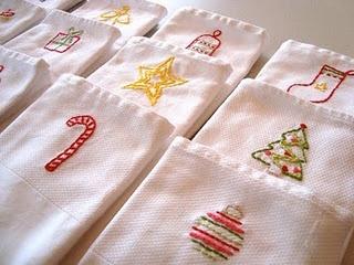 embroidered Christmas napkins