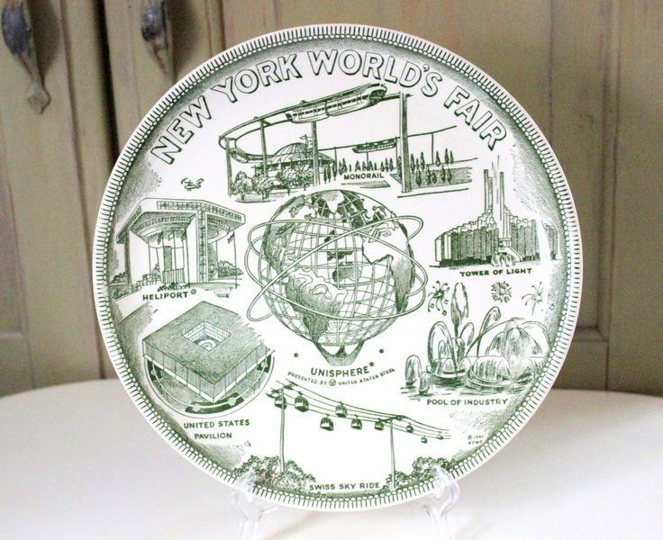 Vintage New York Worlds Fair Souvenir Plate 1961 By United States Steel Heliport Monorail Unisphere Industrial Decorative Dish Wall Decor by IguanaFindIt on Etsy