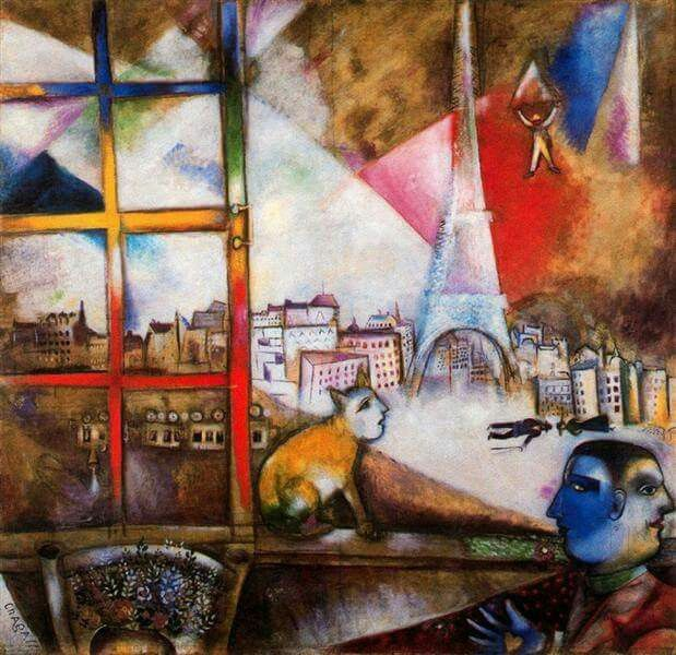 Paris through the Window - 1913; Paris, France by Marc Chagall Original Title: Paris par la fenetre Style: Cubism Media: oil, canvas Dimensions: 141.4 x 135.8 cm Location: Solomon R. Guggenheim Museum, New York City, NY, US  ( a 1956 )